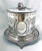 Victorian Silver Plate Biscuit Barrel, English, Circa 1890