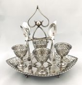 Victorian Silver Plate Egg Stand With Cups and Spoons