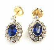 Vintage Sapphire and Diamond Earrings