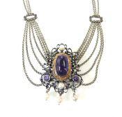 Vintage Amethyst and Pearl Festoon Necklace