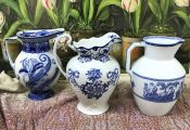 Vintage Blue and White Pitchers