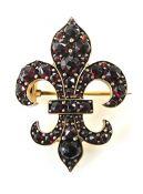 Vintage Garnet Fleur-de-lys Brooch