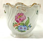 Vintage Herend Porcelain Ribbed Cachepot With Hand Painted Floral Bouquets