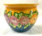 Vintage Portuguese Hand Painted Ceramic Jardiniere