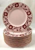 Wedgwood Pink Alpine Luncheon Plates With Rose Border and Gilded Rim