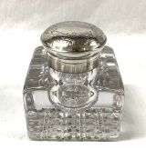 Victorian Sterling Silver And Cut Crystal Inkwell from Gorham, Circa 1890-1900