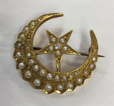 1-69702-June/Blithe Spirit/18kt Gold Seed Pearl and Diamond Crescent and Star Brooch