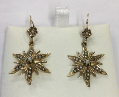1-69702-June/Blithe Spirit/Pair of 14kt Seed Pearl Starburst Earrings