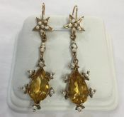 Seed Pearl and Citrine Drop Earrings