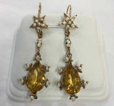 1-69702-June/Blithe Spirit/Pair of Seed Pearl and Citrine Drop Earrings