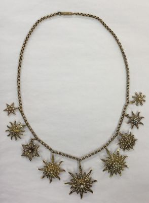 Seed Pearl Multi Starburst Pendant Necklace