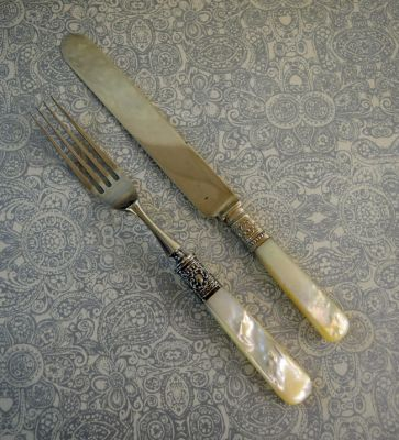 1-69702-June/Tommy/Mother of Pearl Handled Dinner Forks and Knives