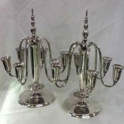 Sterling Silver Six-Light Candelabras