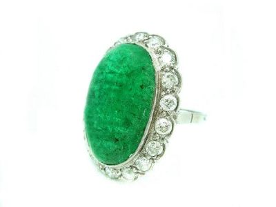 1930s Emerald Diamond Ring  EmR001