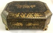 19th Century Chinese Export Lacquered & Gilded Jewellery Box