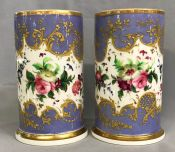 19th Century Paris Porcelain Cylinder Form Vases, circa 1880