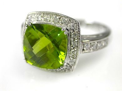 1 April Updates/Peridot Halo Ring Cynthia Findlay Antiques CFA110915