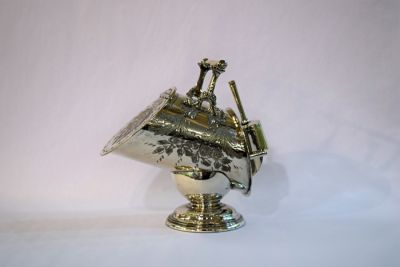 1 April Updates/mother day blog blast 3/Victorian English Silver Plate Coal Scuttle Sugar Bowl with Scoop