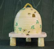 Belleek Shamrock Pattern Honey Pot