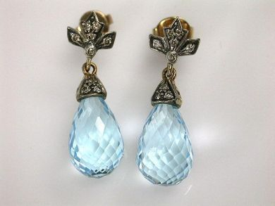 1 Updates/Briollette Blue Topaz Earrings Cynthia Findlay Antiques CFA121062