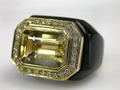 Citrine and Ebony Ring