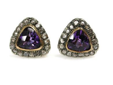 1 Updates/Triangular Amethyst Earrings Cynthia Findlay Antiques CFA1211111C