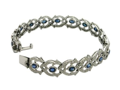 Bracelet 14 kt White Gold Sapphire and Diamond