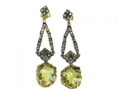 Vintage Style Green Beryl and Diamond Earrings