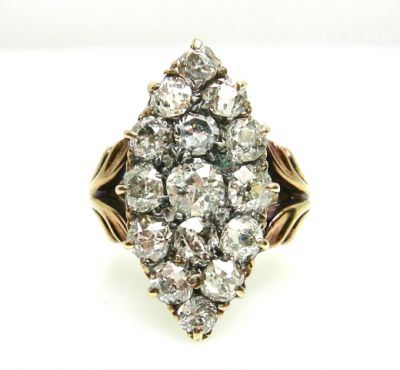 2014 AGL uploaded Oct-Dec/Edwardian Marquise Diamond Cluster Ring AGL48218 020 78492