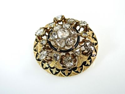Diamond Enamel Floral Brooch