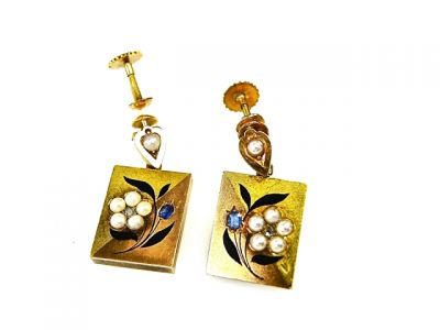 2014 CFA uploaded Oct-Dec/Diamond Sapphire Enamel Floral Earrings CFA1402107 74776