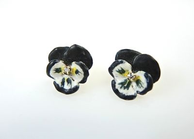 Diamond and Enamel Floral Earrings