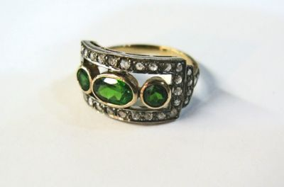 Diopside and Diamond Ring