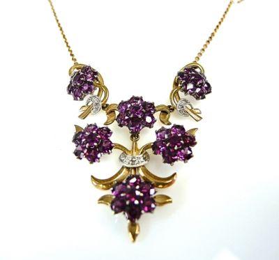 Garrard Garnet and Diamond Necklace