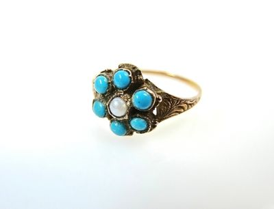 2014 CFA uploaded Oct-Dec/Pearl and Turquoise Floral Cluster Ring CFA140694 78086