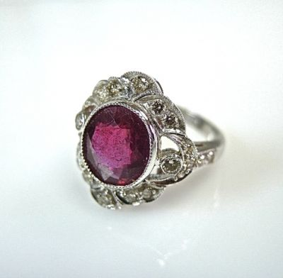 Victorian Inspired Ruby and Diamond Ring
