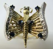 Sapphire and Diamond Butterfly Ring