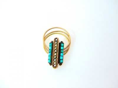 2014 CFA uploaded Oct-Dec/Turquoise and Pearl Ring CFA140666 78035
