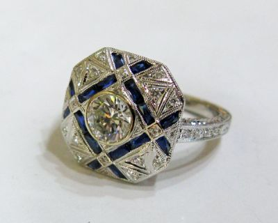 2015 AGL/Art Deco Inspired Diamond and Sapphire Ring AGL55423 79587