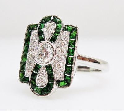 2015 AGL/Art Deco Inspired Diamond and Tsavorite Garnet Ring AGL54786 79593a