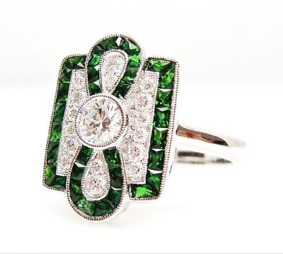Art Deco Inspired Diamond and Tsavorite Garnet Ring
