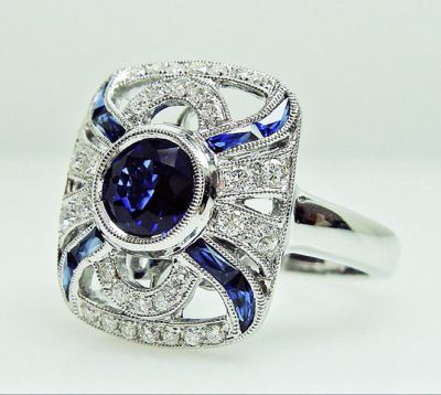 2015 AGL/Art Deco Inspired Sapphire and Diamond Ring AGL54782 79589b