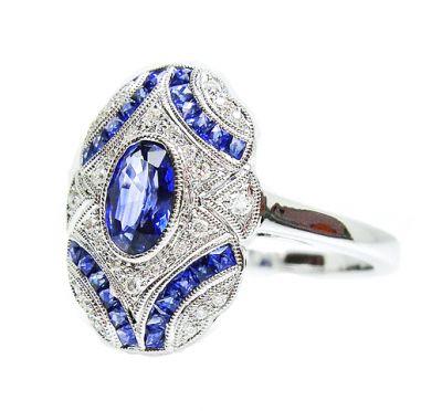 2015 AGL/Art Deco Inspired Sapphire and Diamond Ring AGL54783 79590aa2