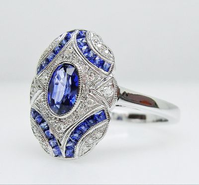 2015 AGL/Art Deco Inspired Sapphire and Diamond Ring AGL54783 79590b