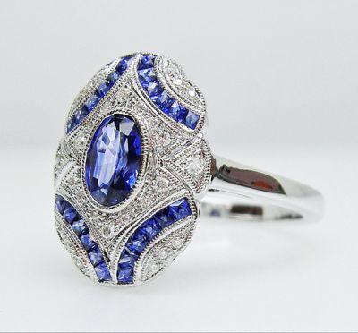 2015 AGL/Art Deco Inspired Sapphire and Diamond Ring AGL54783 79590b