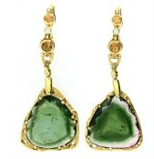 Audrius Krulis Tourmaline Citrine Diamond Earrings