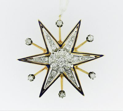 2015 AGL/Vintage Diamond and Enamel Star Brooch AGL54962 79598B