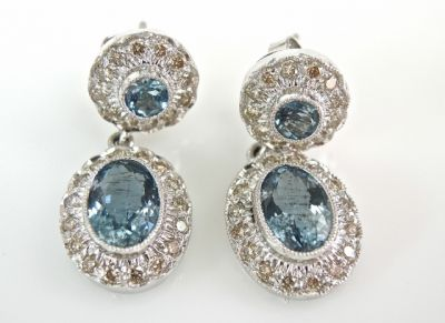 2015 ML Facets/2 Qtr/Aquamarine and Diamond Earrings CFA1504113 79314