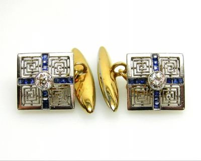 2015 ML Facets/2 Qtr/Art Deco Diamond and Sapphire Cufflinks AGL43918 74274A