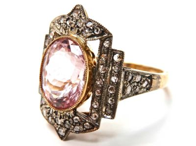 2015 ML Facets/2 Qtr/Art Deco Inspired Morganite and Diamond Ring CFA1503172 79276